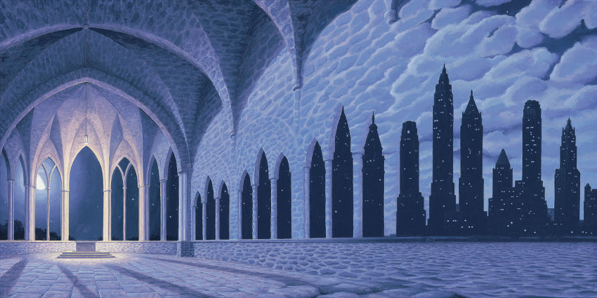 Rob Gonsalves - Cathedral Of Commerce, image courtesy of Marcus Ashley Gallery, rob, paintings, post, email, using, sign, prints, canvas, new, rob, gonsalves, surreal, paintings, contact, mind, books, rob, book