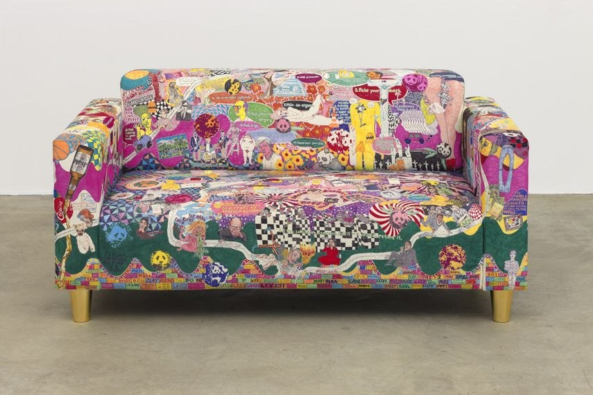 In privacy of his home the artist settled weird furniture and stuffed animals much like his works