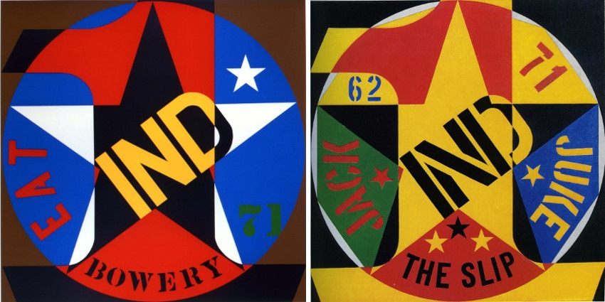 Robert Indiana - Decade Autoportrait 1961 (24in.), 1971 (Left) / Decade Autoportrait 1962 (24in.), 1971 (Right) home prints 2013 Robert Indiana Love society contact search world