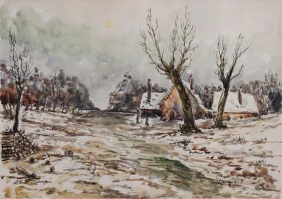 Robert L.P. Lavoine-Le Hameau sous la neige en Correze-