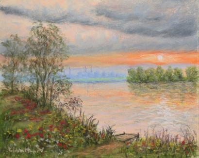 Rodolphe Planquette-Coucher de soleil a Vernon, environ de Giverny-2000