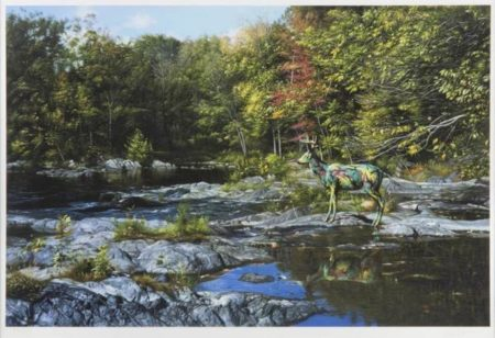 Ron English-Camo Deer At Beacon Waterfall-