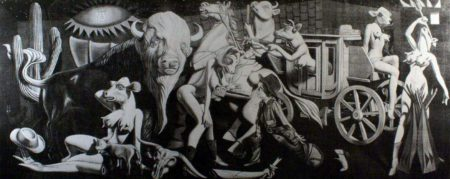 Ron English-Cowgirl Guernica Black and White-