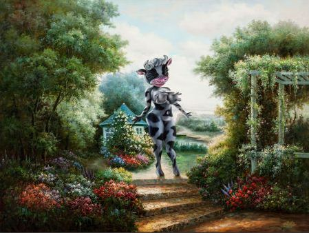 Ron English-Cowgirl in the Garden-2001