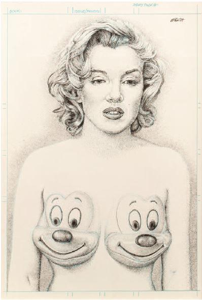 Ron English-Marilyn with Mickey tits-