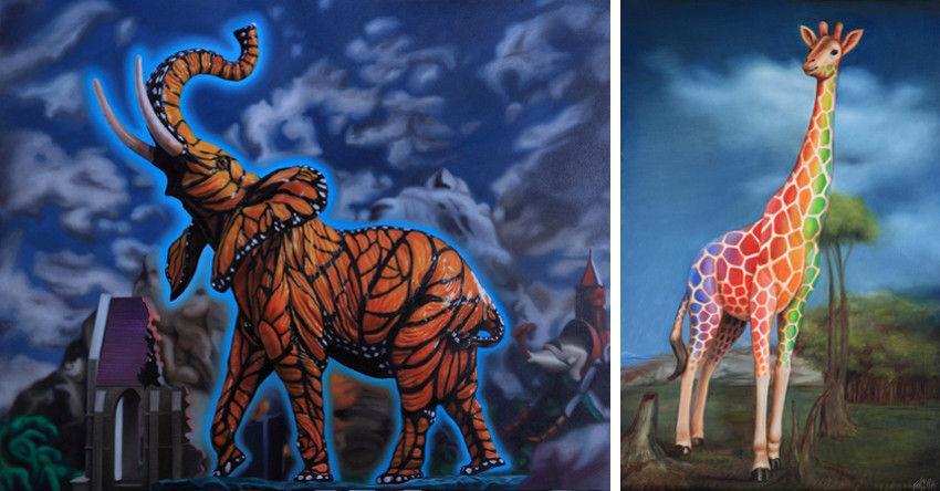 Ron English - Monarch Elephant Profile (Left) - Rainbow Giraffe (Right)