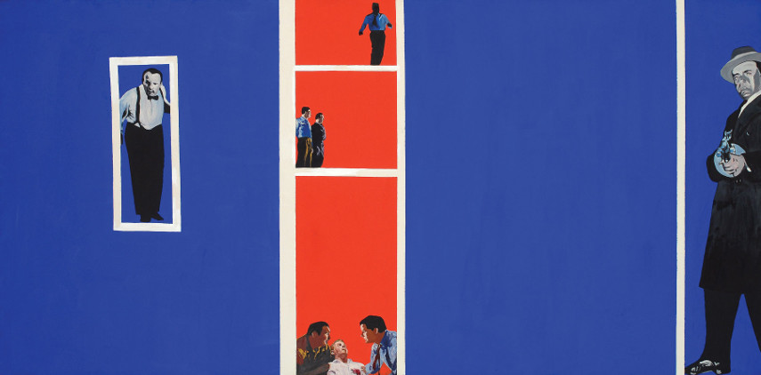 Home Movies(1963) is the paiting Rosalyn Drexler made in her unique colorful style