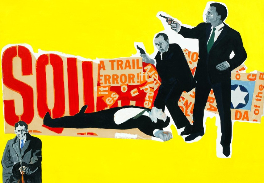 Rosalyn Drexler's The Defenders (1963) is a collage / acrylic paint on canvas work that can be found in the New York Collage museum