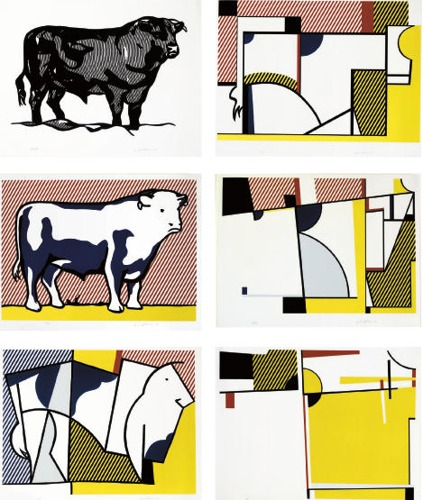 Roy Lichtenstein-Bull I; Bull III-VII, from Bull Profile Series-1973
