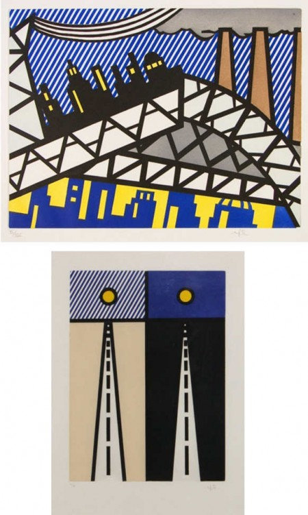 Roy Lichtenstein-Illustration for Auto poesie en cavale de bloomington; Illustration for Bayonne en entrant dans nyc-1992