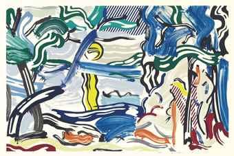 Roy Lichtenstein-Moonscape, from Landscapes-1985