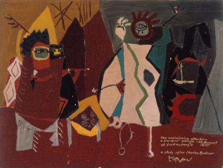 Roy Lichtenstein-The Assiniboins Attacking a Blackfoot Village-1951