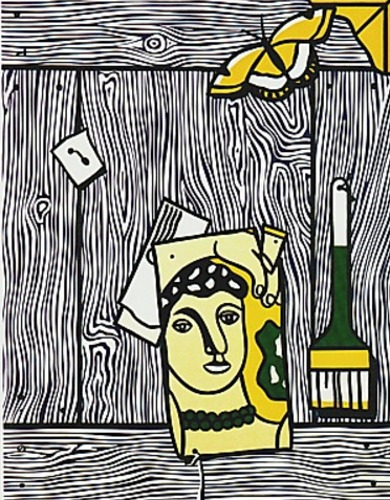 Roy Lichtenstein-Trompe L'oeil with Leger Head and Paintbrush-