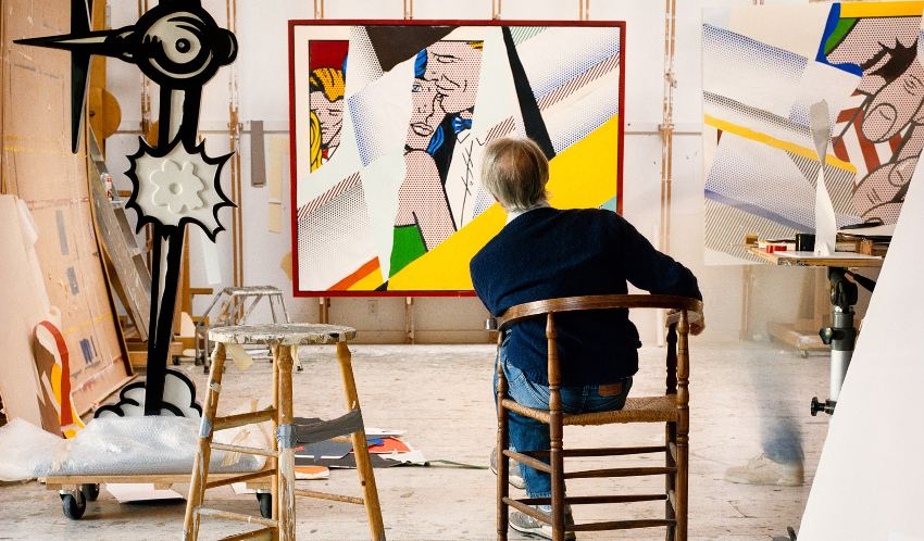 Roy Lichtenstein in his studio with Reflections on the Prom - 1990 - photo by Laurie Lambrecht 1967 landscape