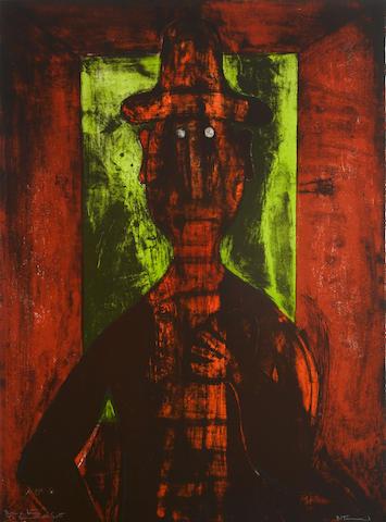 Rufino Tamayo-Hombre en Fondo Verde-1980