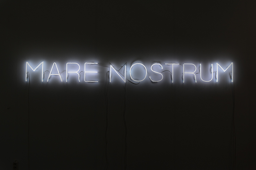 Runo Lagomarsino - Mare Nostrum, 2016. Neon sign, 26,5 x 250 cm. Courtesy Francesca Minini