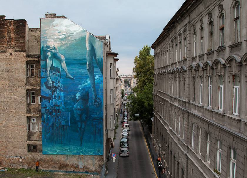SEPE and CHAZME - Blue in Green, Szines Varos Festival, Budapest, Hungary 2016, photo credits of the artist