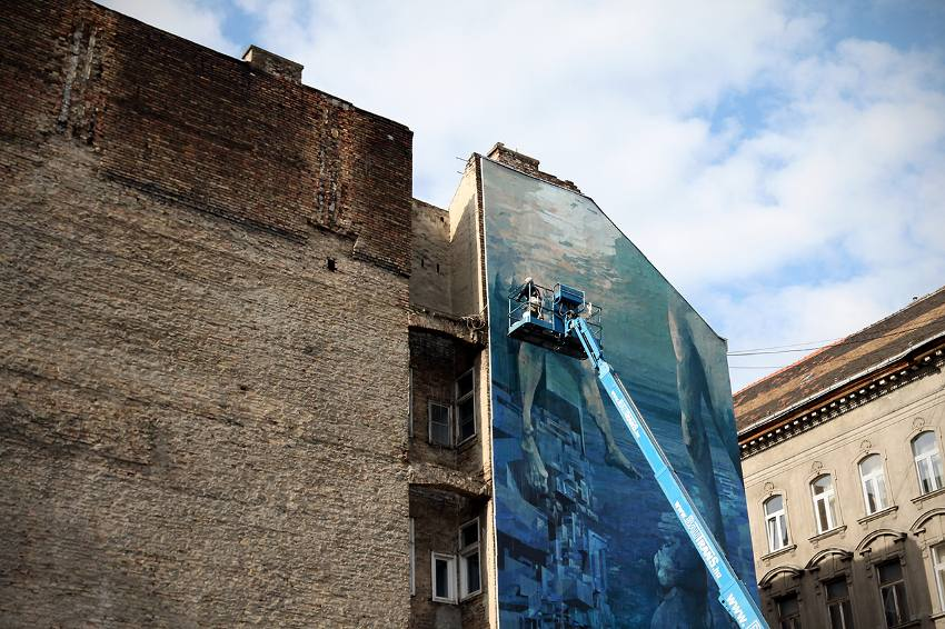 SEPE and CHAZME - Blue in Green, work in progress, Szines Varos Festival, Budapest Hungary 2016, photo credits of the artist