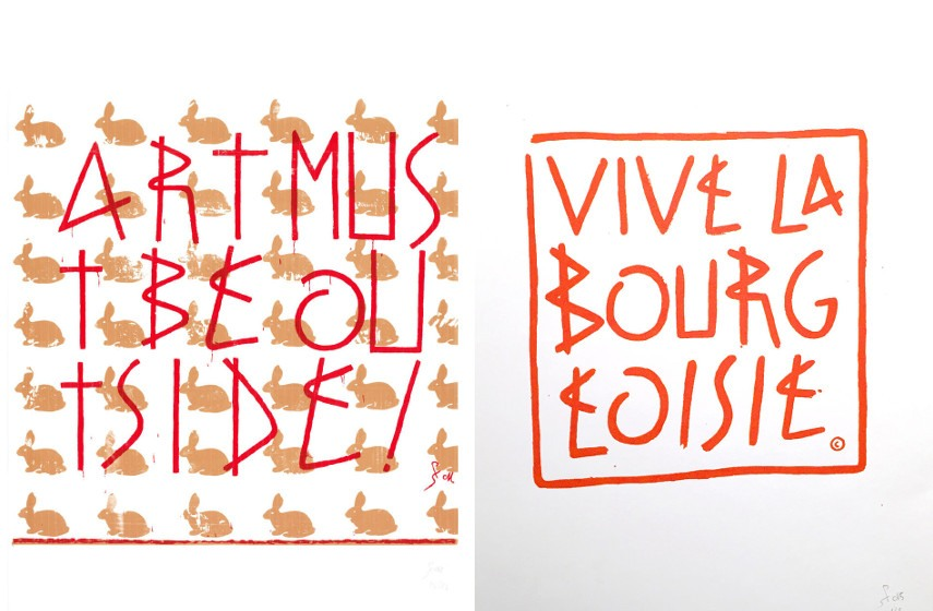 SP38 - Art Must Be Outside, 2011 (Left) / Vive La Bourgeoisie, 2015 (Right)