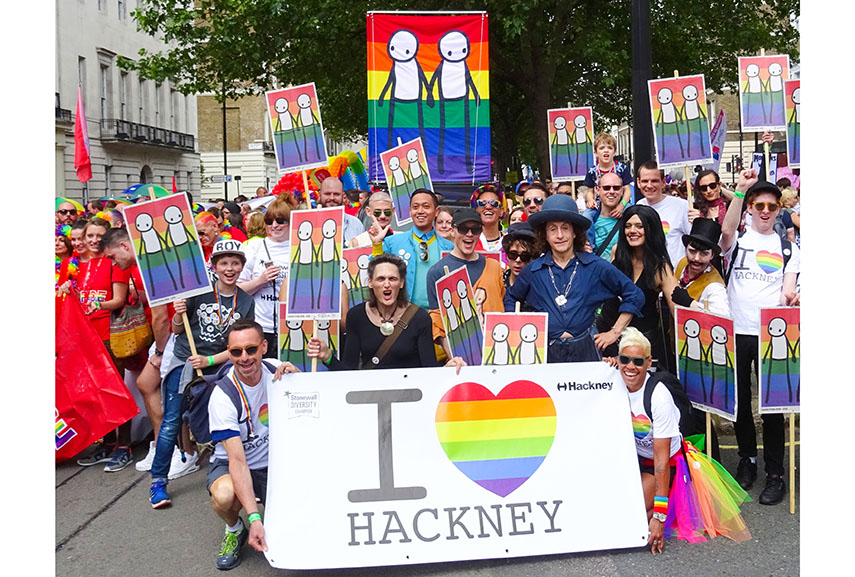 STIK pride banner - the artist was commissioned by hackney museum and has collaborated with flagmakers