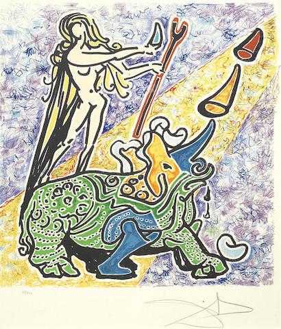 Salvador Dali-La vergine e il rinoceronte, from Les Vitraux-1973