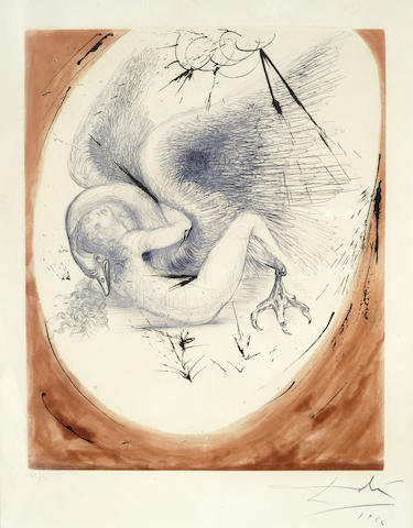 Salvador Dali-Leda, from Mythologie-1964