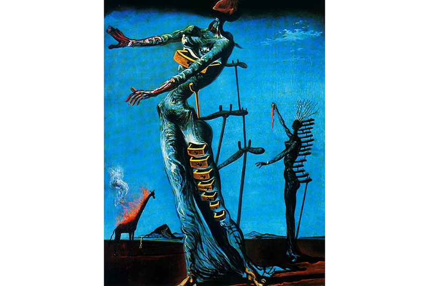 Dali Paintings Blue With Body And Drawers