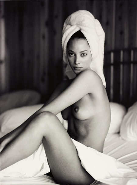 Christy Turlington with towel, Panoramic View Hotel, Montauk-1993