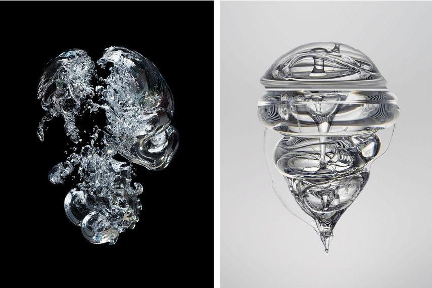 Seb Janiak - Gravity, Bulles Dair 02, 2013 (Left) Gravity, Liquid 05, 2014 (Right)