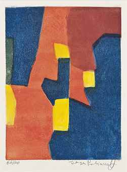 Serge Poliakoff-Composition in Red, Yellow and Blue-1960