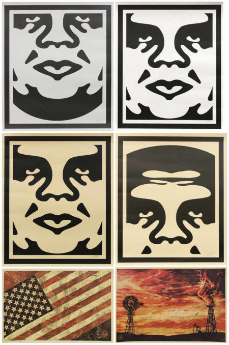Shepard Fairey-Andre the Giant Face (4), Flag, Evolve Devolve-
