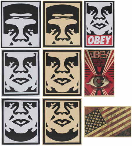 Shepard Fairey-Andre the Giant Face, Obey Icon, Flag, Obey Eye-2013