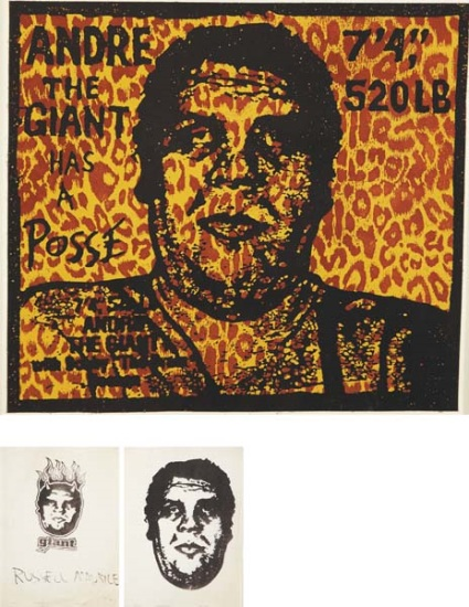 Shepard Fairey-Andre The Giant Leopard Print/Original Giant Fax-1995