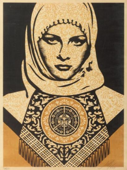 Shepard Fairey-Arab Woman (Gold)-2007