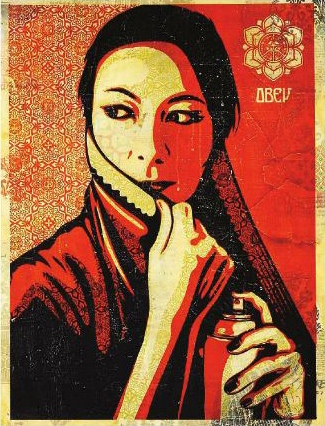 Shepard Fairey-Commanda HPM on Wood-2008