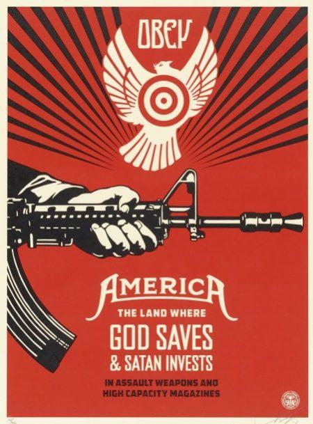 Shepard Fairey-God Saves & Satan Invests-2013