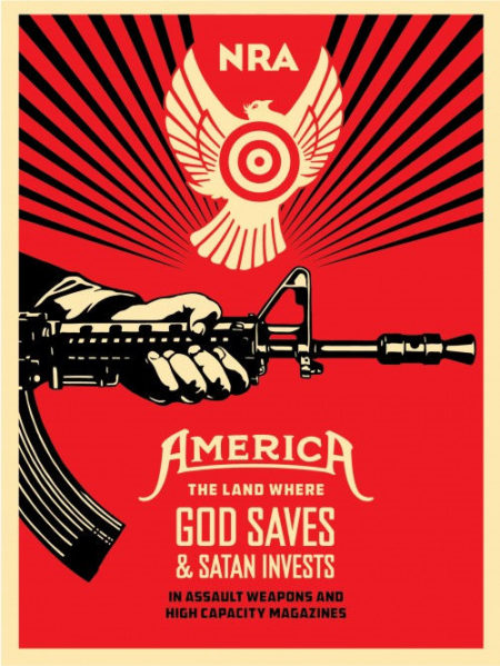 Shepard Fairey-God Saves & Satan Invests Offset (NRA)-2013