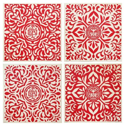 Shepard Fairey-Japanese Fabric Pattern, Red-2009
