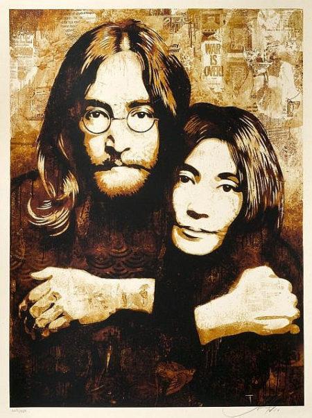 Shepard Fairey-John & Yoko Canvas-2010