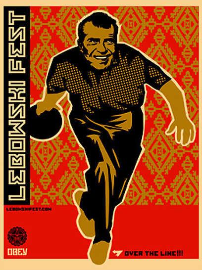 Shepard Fairey-Lebowski Nixon Bowling-2003