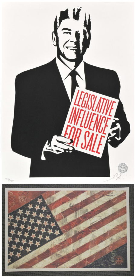 Shepard Fairey-Legislative Influence For Sale/American Flag-2011