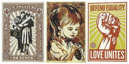 Shepard Fairey-No Cents/War by Numbers/Love Unites-