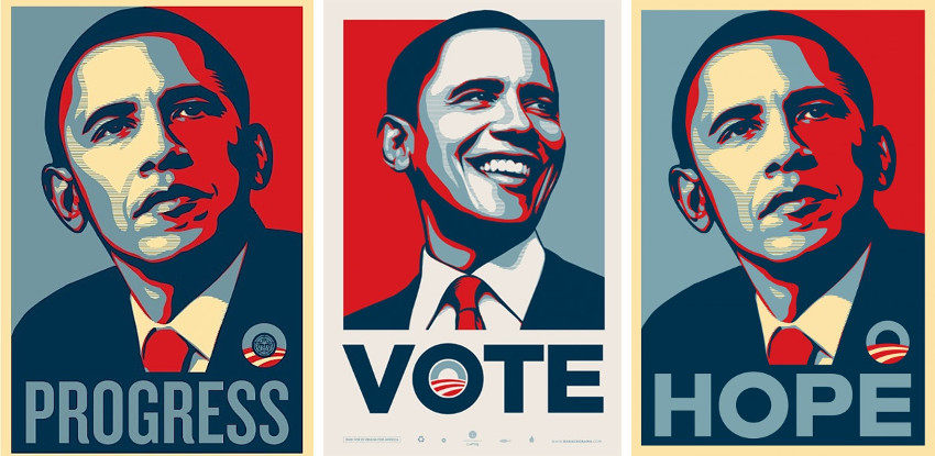 Shepard Fairey - Obama Posters- Progress (Left) - Vote (Center) - Hope (Right)