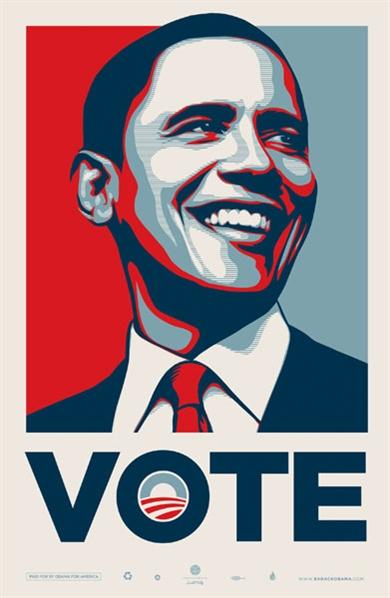 Shepard Fairey-Obama Vote-