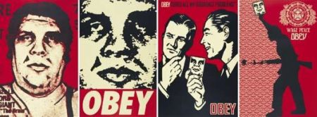 Shepard Fairey-Obey '89/Obey '95/Obey '99/Obey '04 (Four works from Retro Series)-2005