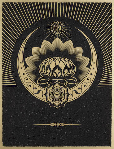 Shepard Fairey-Obey Lotus Crescent (Black & Gold)-2013