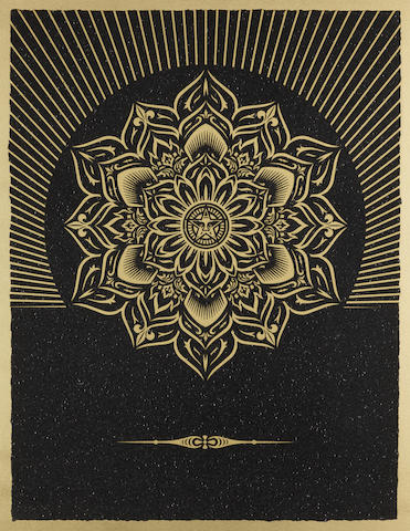 Shepard Fairey-Obey Lotus Diamond (Black & Gold)-2013