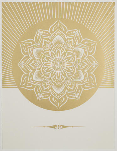 Shepard Fairey-Obey Lotus Diamond (White & Gold)-2013