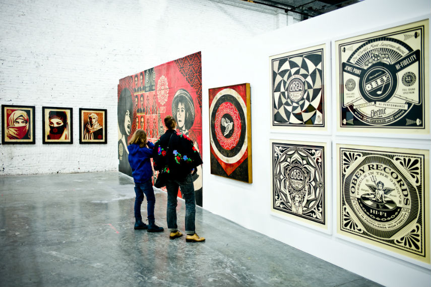 Stephane Bisseuil photo of the famous street artist Shepard Fairey Obey Various Works