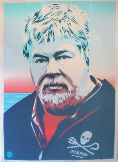 Shepard Fairey-Paul Watson Light Blue-2009